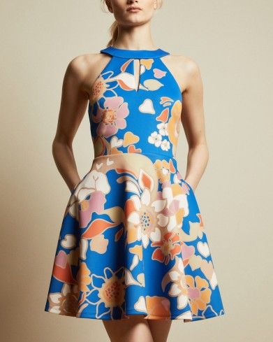 TED BAKER ADYSONN Pinata sleeveless skater dress in bright blue – floral fit and flare