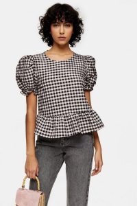 Puff Sleeve Top – Topshop Pink Check Bow Back Puff Blouse