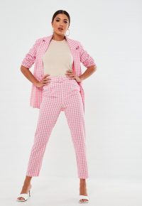 MISSGUIDED pink co ord gingham belted cigarette trousers – checked pants