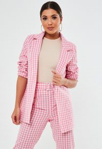 MISSGUIDED pink co ord gingham oversized blazer – checked jackets – checks