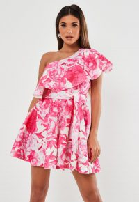 Missguided pink floral frill shoulder scuba skater dress – flared party dresses