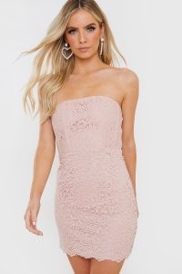 IN THE STYLE PINK LACE BONED STRAPLESS MINI DRESS