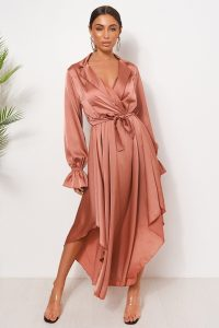THE FASHION BIBLE PINK SATIN LONG SLEEVE MIDI DRESS