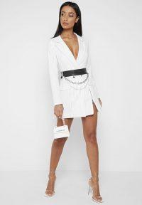 Manière De Voir PINSTRIPE BLAZER DRESS – WHITE