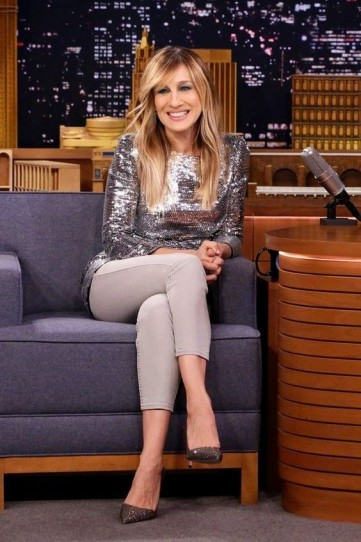 SJP glamorous evening look…sparkly silver top and shimmering crystal courts