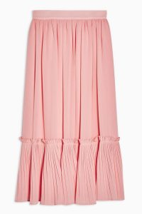 Topshop Plain Pink Pleated Hem Midi Skirt