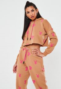 playboy x missguided camel all over print cropped hoodie – hoodies – designer sports fashion