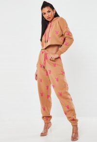 playboy x missguided camel all over print oversized joggers