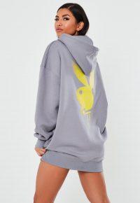 playboy x missguided grey drip bunny overized hoodie dress / logo hoodies