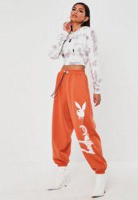 playboy x missguided orange super oversized jumbo joggers