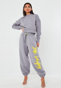 Grey Oversized Joggers / playboy x missguided