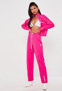 playboy x missguided pink split hem straight leg trousers – bright sprts pants