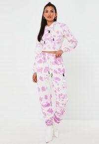 playboy x missguided pink tie dye oversized joggers