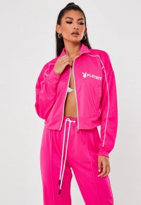 playboy x missguided pink zip through cropped jacket – logo printed sports jackets