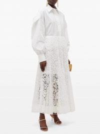 VALENTINO Pleated lace midi skirt – matches fashion
