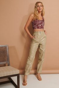 NA-KD Pocket Detail Pu Pants Beige