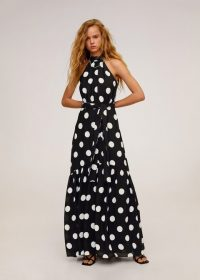 Mango Polka dots long dress navy REF. 67025924-CAROLINE-LM / womens clothing for summer parties