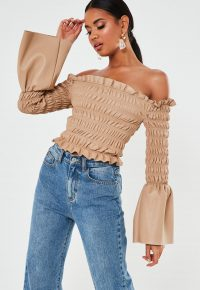 MISSGUIDED premium beige faux leather shirred bardot top