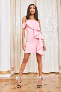 lavish alice bardot frill scuba mini dress in pink ~ oversized ruffles