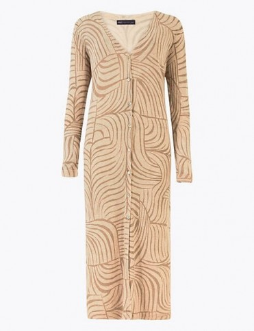 M&S COLLECTION Printed Midi Cardigan with Linen / longline cardigans