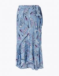 PER UNA Printed Ruffle Midi Wrap Skirt Blue Mix / M&S fashion