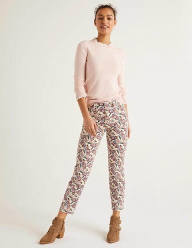 BODEN Printed Straight Jeans Ivory And Rouge, Jungle Bloom