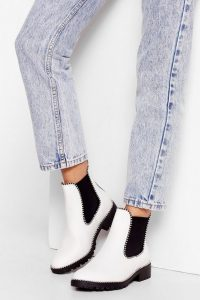 NASTY GAL PU Pin Stud Chelsea Boots White
