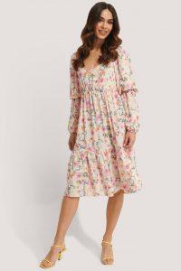 Kae Sutherland x NA-KD Multicolor Puff Midi Dress