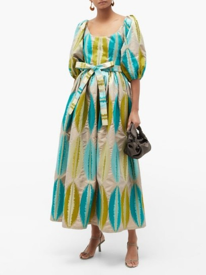 MARTA FERRI Puff-sleeve abstract-jacquard dress