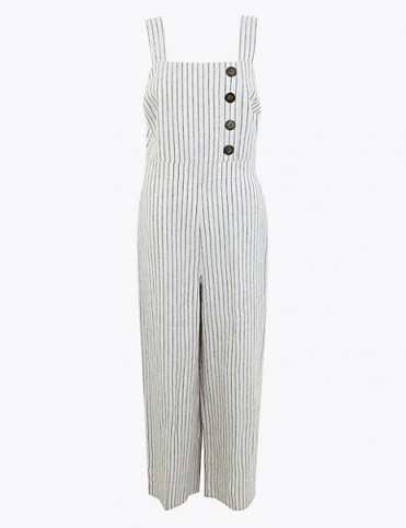 M&S COLLECTION Pure Linen Striped Utility Jumpsuit Ivory Mix / cropped leg all-in-one