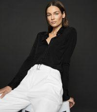 REISS QUINNE JERSEY SHIRT BLACK ~ classic wardrobe essential