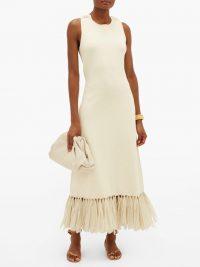 JIL SANDER Raffia-fringe knitted dress in ivory ~ fringed hemlines