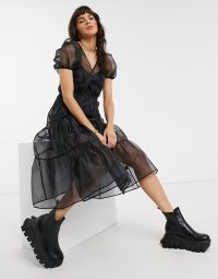 Black tiered dress – Reclaimed Vintage inspired wrap dress with volume sleeve in organza