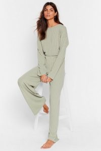 NASTY GAL Recycled Keep Your Cool Ribbed Top and Wide-Leg Pant Set in Sage – loungewear – lounge sets