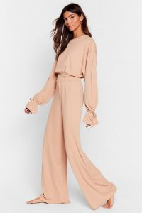 Loungewear Sets – NASTY GAL Recycled Tie-ing to Relax Wide-Leg Pants Set in Oatmeal