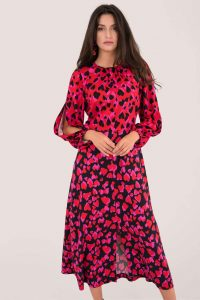 CLOSET RED HEART PRINT PUFF SLEEVE MIDI DRESS