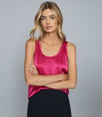 REISS REMEY SILK FRONT VEST PINK / hot colours / bright tank for spring 2020