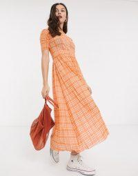 Bright orange dress – Resume taika mesh check maxi dress in neon orange