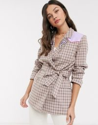 Resume temple tailored check coat with paisley and leather details in sand
