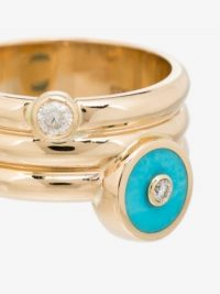 Retrouvai 14K Yellow Gold Turquoise Diamond Ring / modern boho rings