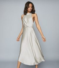 Reiss RITA HALTERNECK SATIN MIDI DRESS SILVER | metallic halter dresses