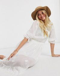 River Island broderie lace prairie midi dress in white
