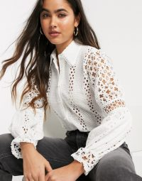 River Island long sleeve broderie shirt in white – feminine cut-out blouse