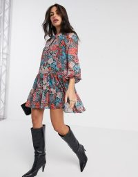 River Island long sleeve floral ruffled mini tea dress in blue / floaty fabric dresses