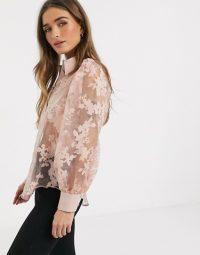 River Island Petite mesh daisy organza shirt in pink