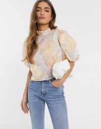 River Island Petite organza short sleeve top in white ~ puff sleeved blouse