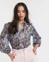 River Island printed sheer shirt in purple
