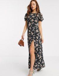 River Island short sleeve chiffon floral maxi dress in black / thigh high slit dresses