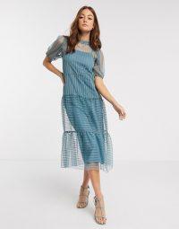 River Island stripe mesh smock midi dress in light blue | sheer overlay dresses