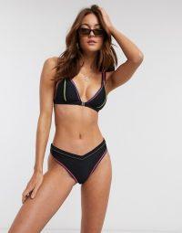 River Island topstitch bikini set in black – asos